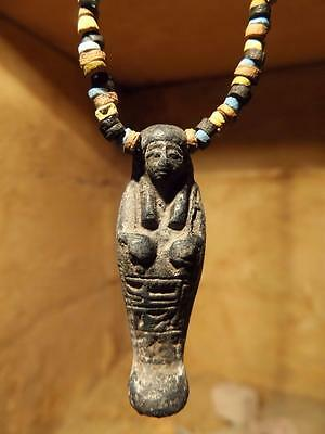 Egyptian art - Ushabti / Shabti statue necklace with clay & faience beads.
