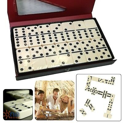 Double Six 6 Professional Dominoes Game Set 28 Piece Domino Tiles Ivory w/ Case