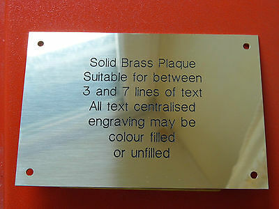 """Solid Brass Polished Engraved Plaque Sign Bench Plate Memorial 6"""" X 4"""" 150x100mm"""