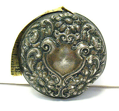 Victorian Sterling Silver Sewing Tape Measure Repousse Design 19.2 Grams