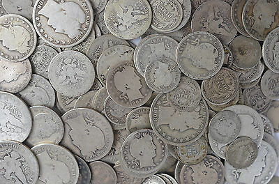1/2 OUNCE 90% SILVER MIXED BARBER LOT 1892-1916 DIMES QUARTERS or HALF COINS