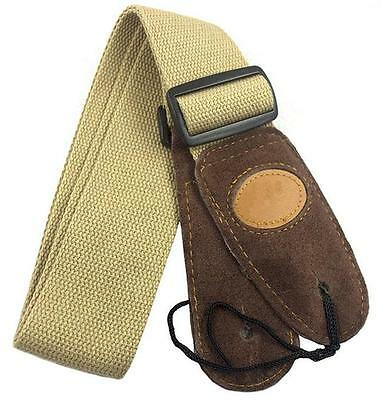 Beige Adjustable Leather ends Guitar Strap For Electric Acoustic Guitar Bass