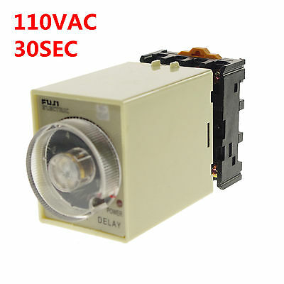 110VAC/DC Power off delay time ST3PF Relay 0-30seconds with Socket Base PF083A