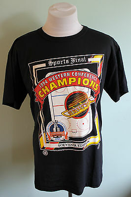 Vtg Vancouver Canucks 1994  Western Conference Champions T Shirt Size XL Black