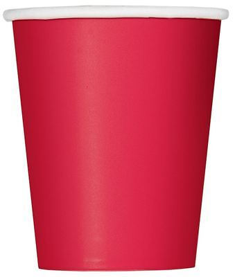 14 Party Paper Cups Solid Plain Ruby Red Colour 266Ml/9 Oz Tablewear Catering
