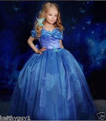 UK Seller Girls Princess Cinderella Dress Costume Kids Party Fancy Dress 1501