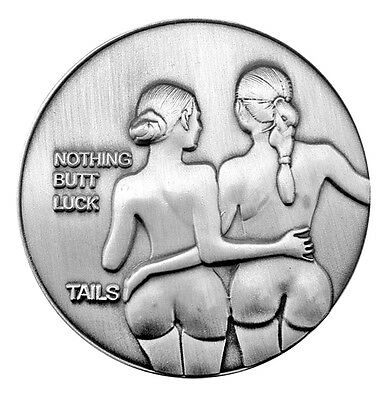 Nude Antique Silver-Finished Nymphs - Lucky Heads & Tails Challenge Coin Art