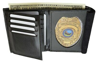 Men's Leather Police Sheriff Officer Badge Holder Credit Card ID Wallet Marshal