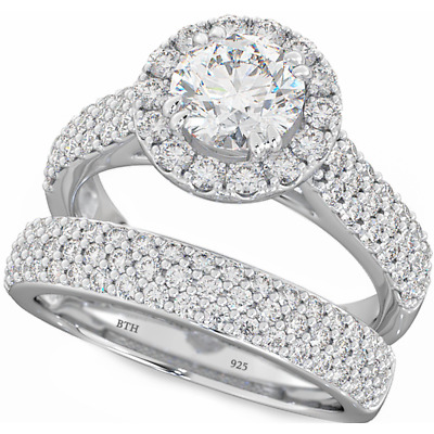 925 Silver Ladies 2 piece Wedding Engagement Round Cut Halo Bridal Ring Set
