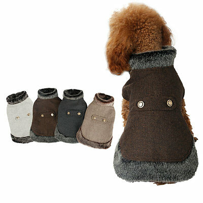 Pet Dog Winter Warm Coat Wool Jacket Puppy Dog Clothes Cat Apparels Fur Collar