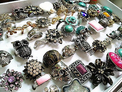 wholesale bulk lot 50pcs mix styles metal alloy jewelry rings discount promotion