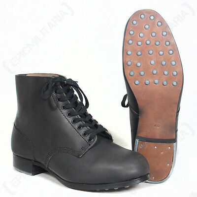 REPRO WW2 German Army Black Combat LOW BOOTS with Hobnails - All Sizes
