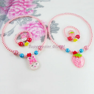 Rabbit & Strawberry 2 Kid Jewelry Sets Plastic Pearl Necklace Bracelet Ring 3in1