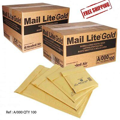 Padded Envelopes A/000 - Bags - Gold - Mail Lite Style Qty 100 Per Box