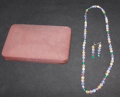 Multi-Colored Diamond-Cut Crystal Necklace & Matching Pierced Earrings