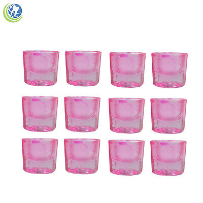 Glass Dappen Dish Pink Acrylic Holder Container Dental Cosmetology 12/pcs