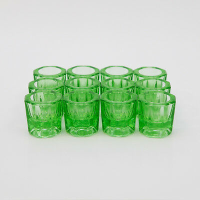 Glass  Dappen Dish Green Acrylic Holder Container Dental Cosmetology 12/Pcs