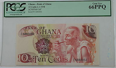 2.1.1978 Bank of Ghana 10 Cedis Note SCWPM# 16f PCGS 66 PPQ Gem New