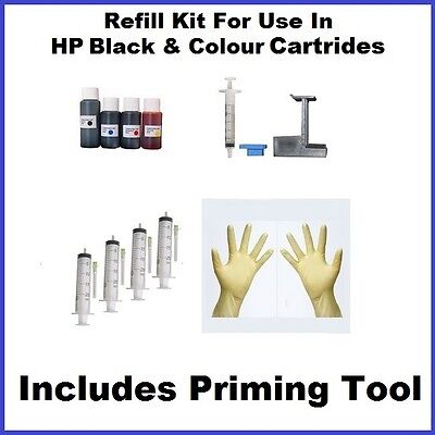 Ink Refill Kit Compatible With HP 302 Black + Colour, Includes Primer Tool HP302