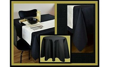 """High Quality Linen Look Tablecloth 100%Polyester  """"BLACK""""  Available 9 sizes."""