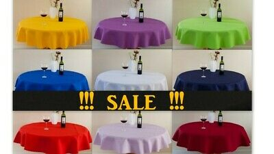 """High Quality""""LINEN""""Look Tablecloth Round,Square,Rectangle avail.8 siz.& 39 col."""