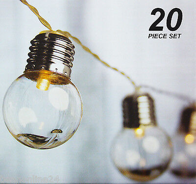 20 Piece LED Clear Festoon / Party String Light Kit - Connectable -Vintage Style