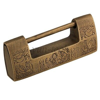 Bronzy Vintage Carved Flower Brass Padlock with key for Jewellery Box Storage