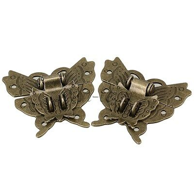 2 x Chinese Classical Alloy Latch Butterfly Buckle for Cabinet Jewelry Box