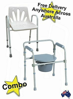 Deluxe Shower Chair and Folding Commode / Toilet Raiser Combo Great buy!