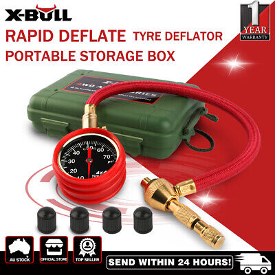 Rapid Tyre Deflator Deflators Tire Air Pressure Gauge/ Dial Valve Tool Kit Box