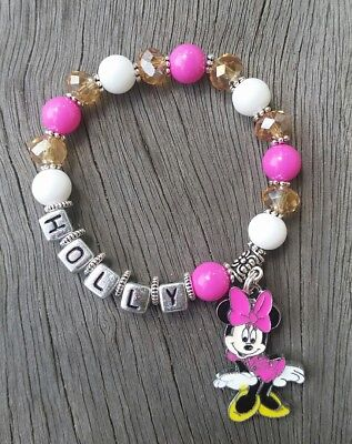 Girls Personalised Name - MINNIE MOUSE Inspired Charm Bead Bracelet Party Favor