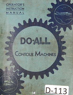 "Doall 16/"" 1612-U  Sawing and Filing Machine Instructions and Parts Manual 1938"