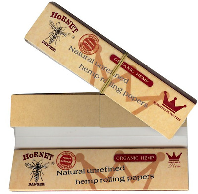 Hornet Connoisseur Organic Hemp King Size Paper With Tips Filter Roach Booklet
