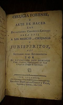Older Book Cirugia Forense 1783 Libro Antiguo