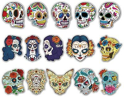 SUGAR SKULLS STICKER SET A5 SIZE day of the dead laptop Guitar Skull Decals 2