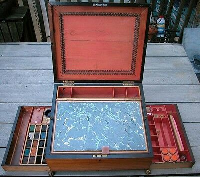 Antique c1800 George Wise Tunbridge Artist WC Paintbox Sewing Case Writing Desk