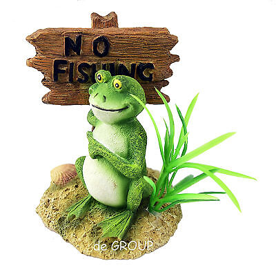 Antique Style Frog NO FISHING Sign home office desk table tank cage garden decor • CAD $17.78