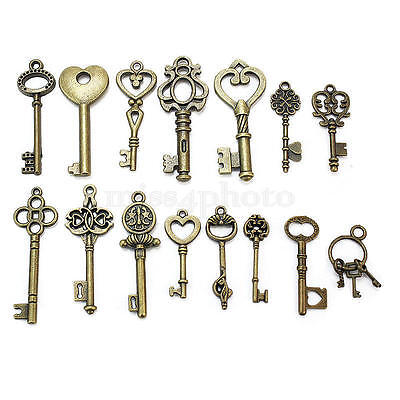 15 Assorted Antique Vintage VTG Old Look Skeleton Keys Bronze Steampunk Pendants