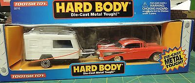 TOOTSIE TOY 1957 TWO DOORS RED CHEVROLET WITH TRAILER 1:43 scale #3210 NWB