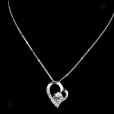 Fashion Women Silver Plated Crystal Heart Pendant Necklace Chain Jewelry