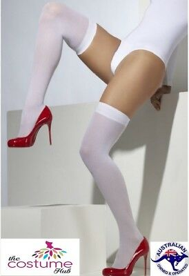 NEW Sexy Opaque Sheer White Stockings Thigh high Holdup Elasticated Top