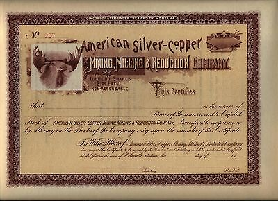 American Silver-Copper Mining Milling & Reduction Stock Certificate Montana