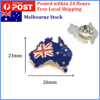 Australia Flag w/ Map Enamel Lapel Pin Badge / Flat Hat Pin / Brooch