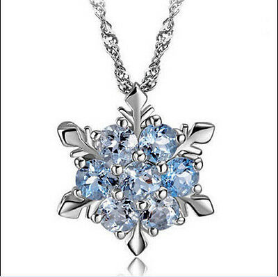 Charm Vintage lady Blue Crystal Snowflake Flower Silver Pendant Necklace