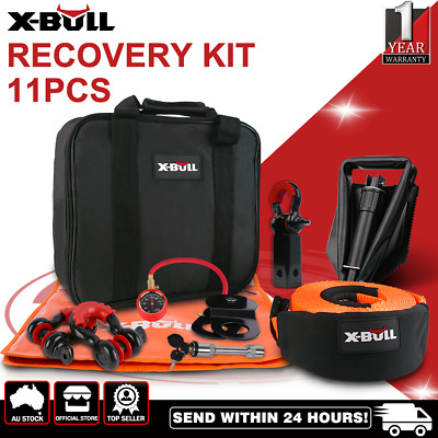 X-BULL 4WD Winch Recovery Kit Snatch Straps Bow Shackles Pulley Hitch Receiver