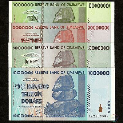 ZIMBABWE 10 20 50 100 Trillion Dollars Set 4 PCS AA 2008 P-88 89 90 91 UNC