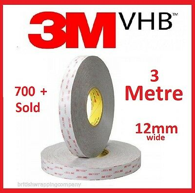 3M VHB RP25 12mm Wide Double Sided Adhesive Foam Bonding Tape Outdoor 3 Metres
