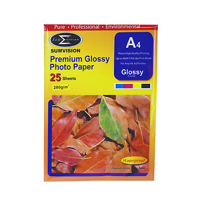 25 Sheet Pack Premium A4 Glossy Professional Photo Paper 210 x 297mm / 200 gsm