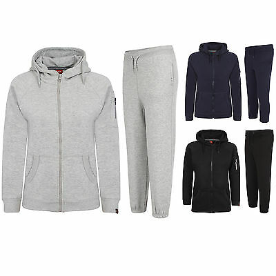 Mens Boys Tracksuit Plain Hooded Jogging Gym Running Hoodie Top Bottom All Sizes