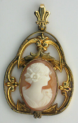 GOLD FILLED SEA SHELL CAMEO PENDANT 1910s - 1920s